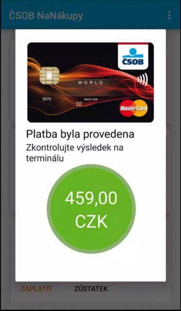 Úspěšné provedení platby v aplikaci