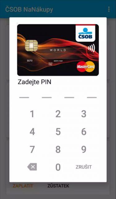 PIN je možné použít při každé transakci