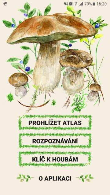 Aplikace na houby má kreslené prostředí