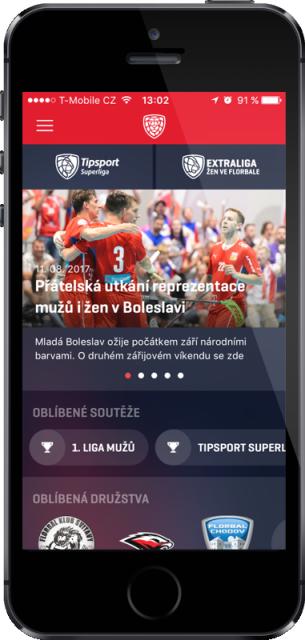 Český florbal nabízí notifikace i zpravodajství