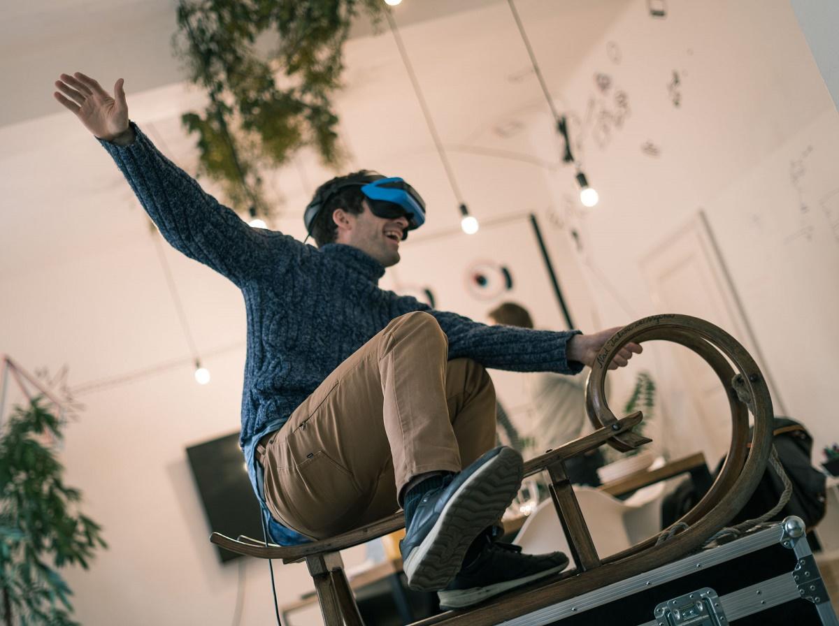 Virtuální jízda na saních trvá čtyři minuty