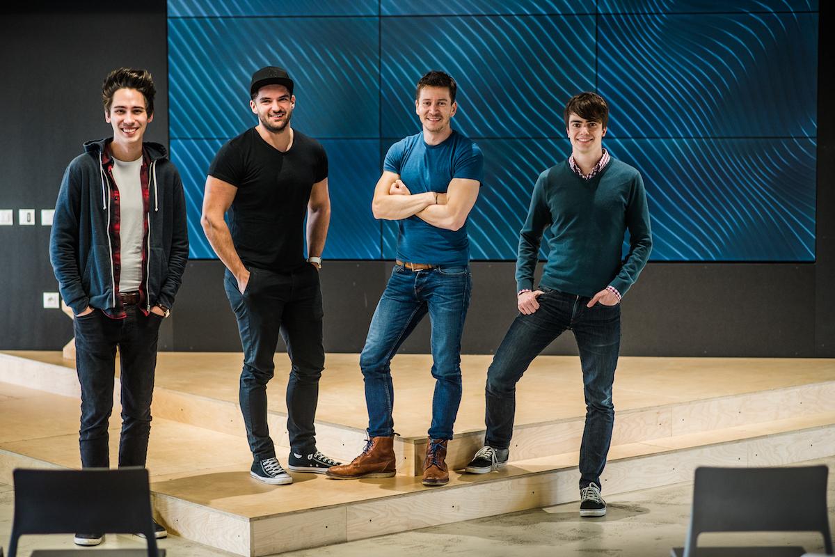 Zakladatelé Strv (zleva) Pavel Zeifert, Lubo Smid, David Semerád, Martin Šťáva
