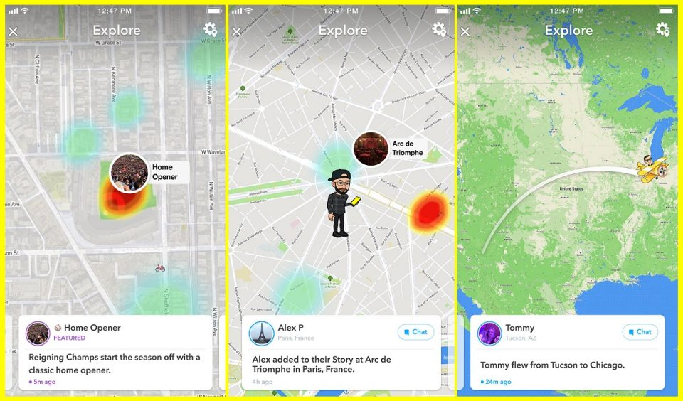 Uživatelé mohou na Snap Map sdílet svou polohu i příspěvky