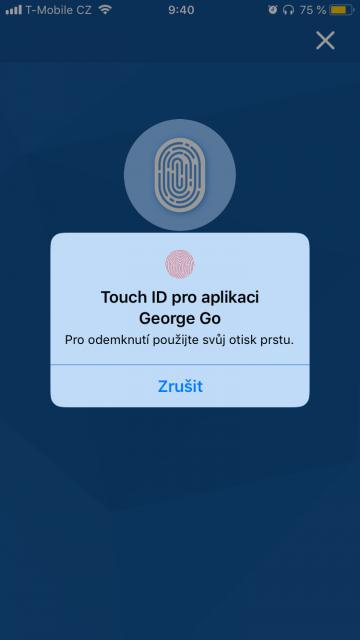 Do aplikace se lze přihlásit i přes biometriku