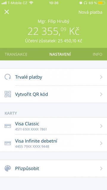 Účet si lze v aplikaci přizpůsobit podle potřeby