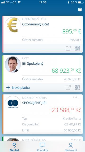 George zobrazí nejen účet u České spořitelny, ale i přehled karet a dalších účtů