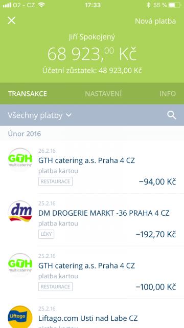 Uživatelé najdou v Georgovi i přehled transakcí