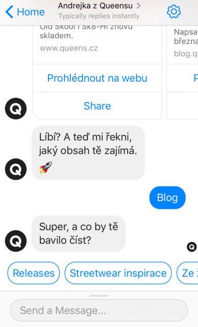 Uživatelé si v chatbotu volí z několika přednastavených možností