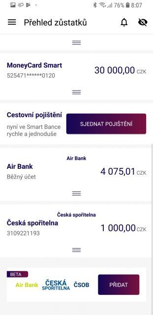 Smart Banka nabídne také spojení přehledů účtů u jiných bank v jedné aplikaci