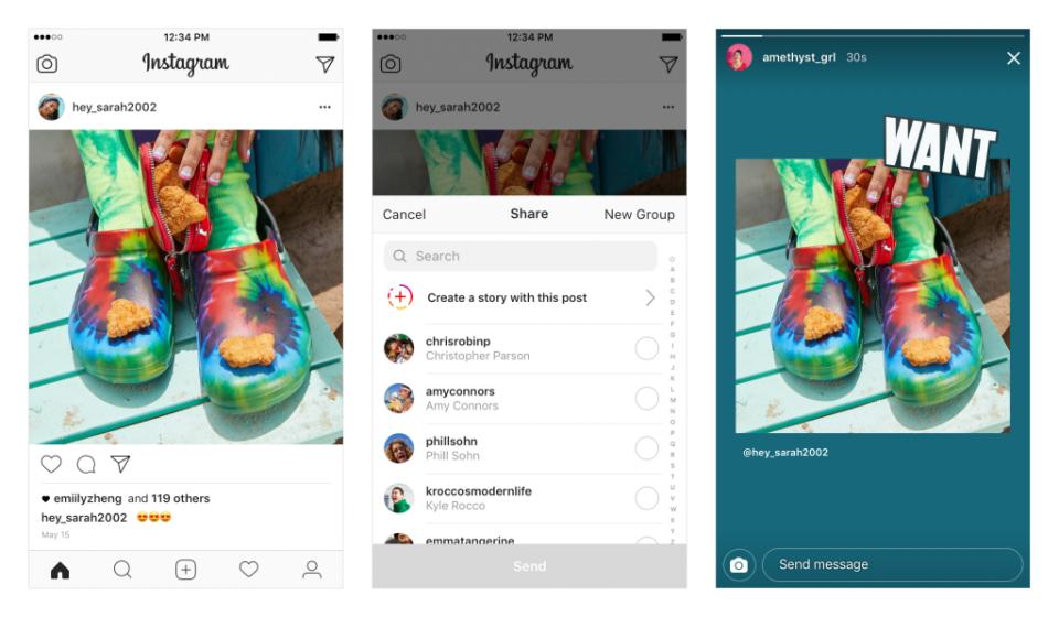 Ve Stories lze sdílet i příspěvky ostatních uživatelů v podobě samolepky