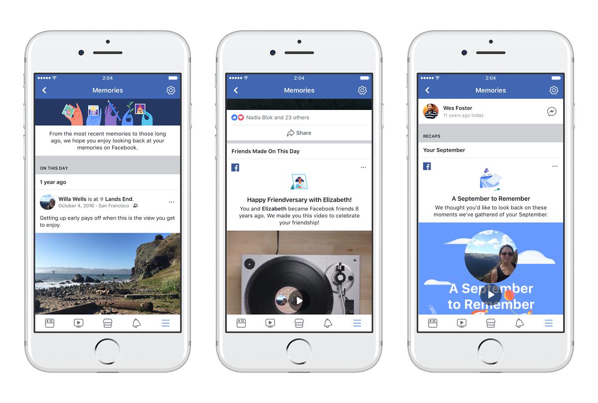 Vzpomínky Facebook rozdělí do několika kategorií